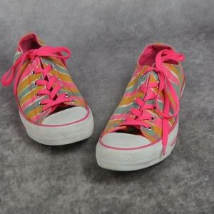 Converse All Star Pink Striped Canvas Sneakers Wom
